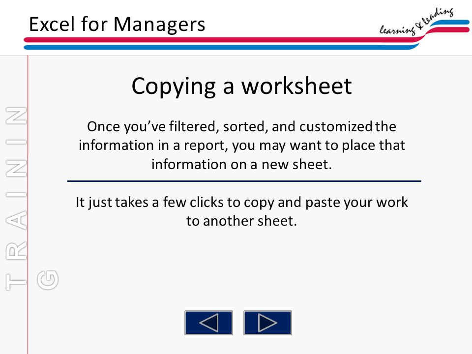 Copying a worksheet TRAINING Excel for Managers