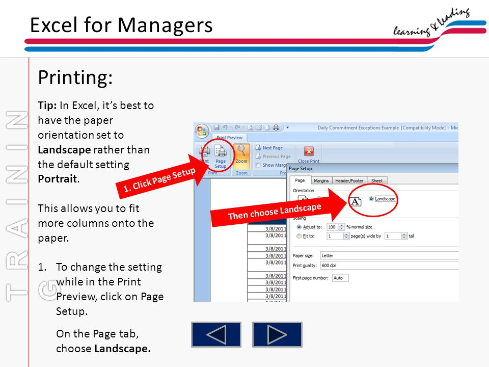 TRAINING Excel for Managers Printing: