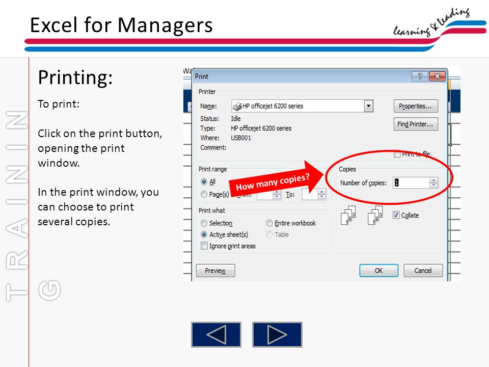 TRAINING Excel for Managers Printing: To print: