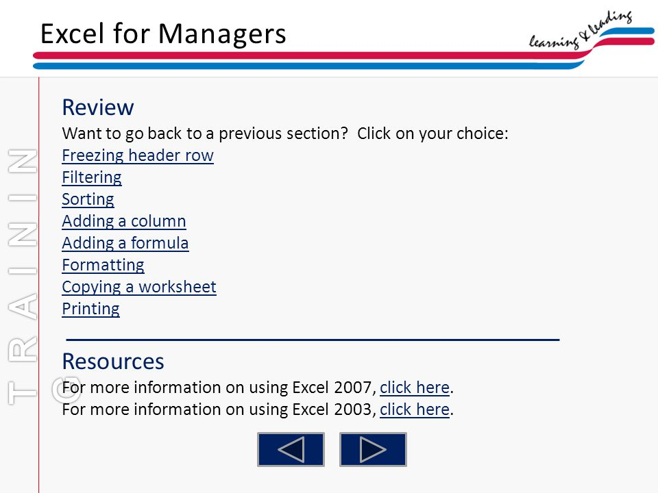 TRAINING Excel for Managers Review Resources