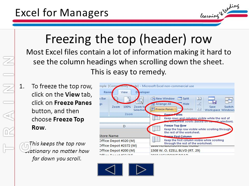 Freezing the top (header) row