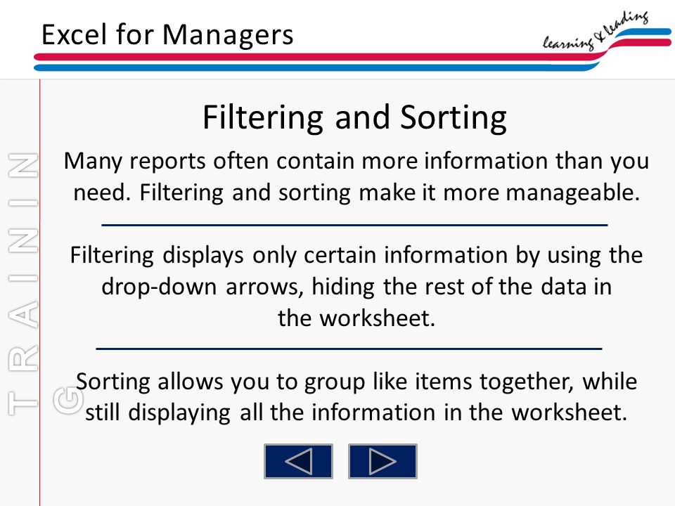 Filtering and Sorting TRAINING Excel for Managers