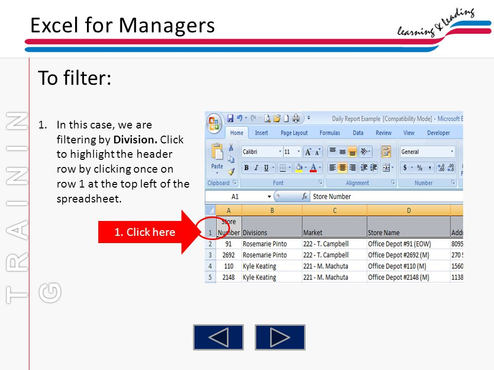 TRAINING Excel for Managers To filter:
