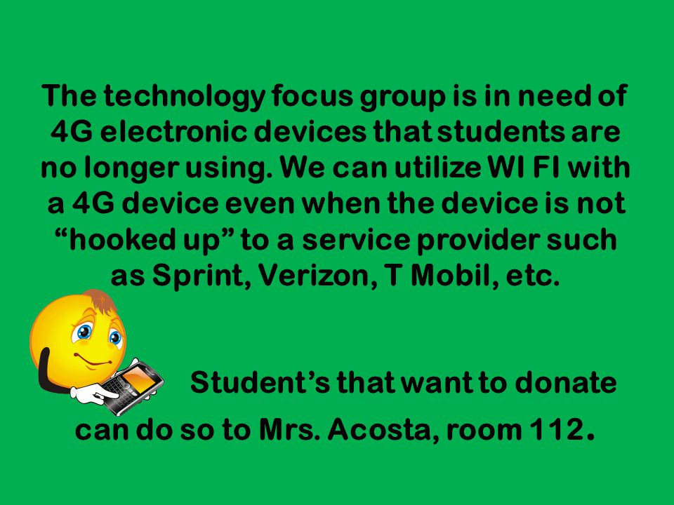 Student's that want to donate can do so to Mrs. Acosta, room 112.
