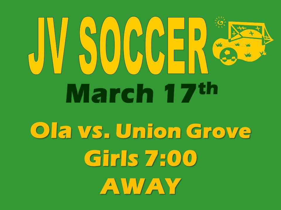 Ola vs. Union Grove Girls 7:00 AWAY