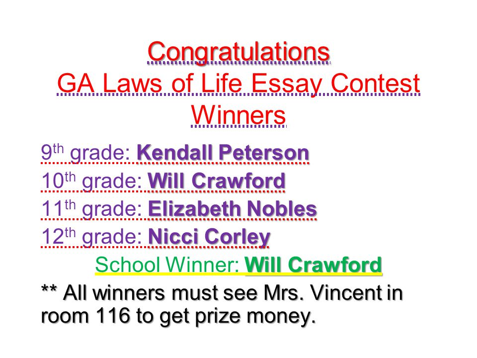 Congratulations GA Laws of Life Essay Contest Winners