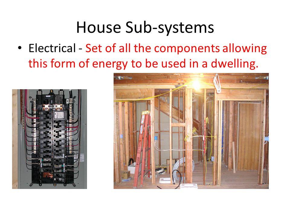 House Sub-systems Electrical - Set of all the components allowing this form of energy to be used in a dwelling.