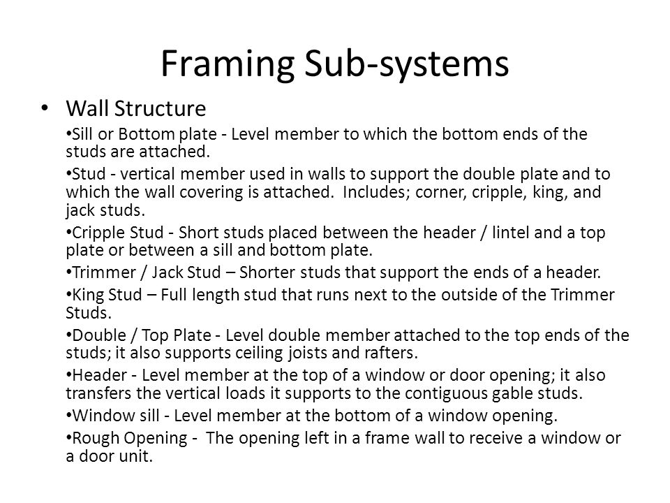 Framing Sub-systems Wall Structure