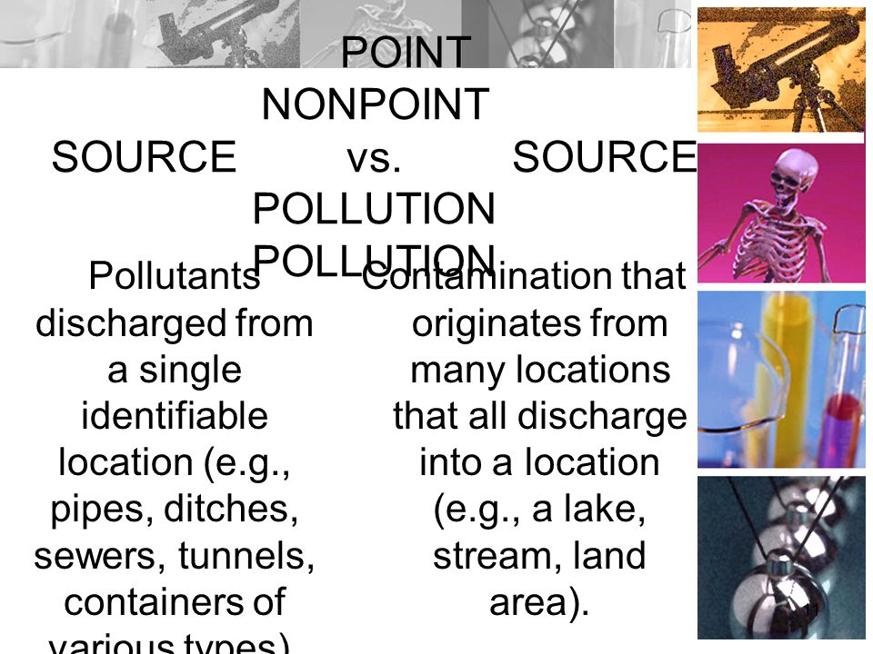 POINT NONPOINT SOURCE vs. SOURCE POLLUTION POLLUTION