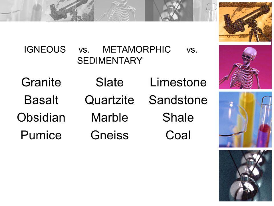 IGNEOUS vs. METAMORPHIC vs. SEDIMENTARY