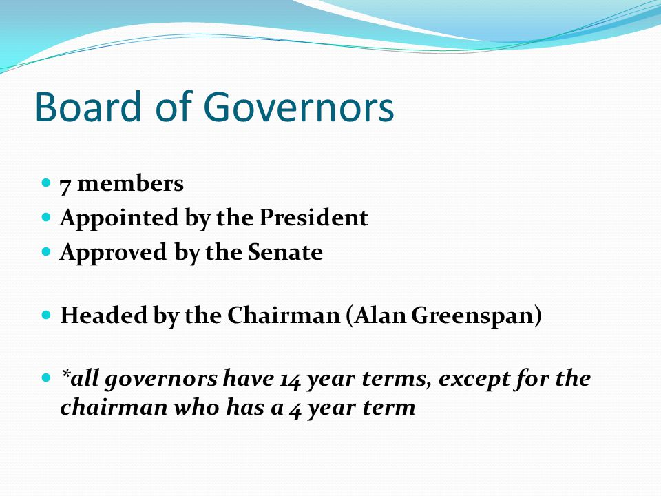 Board of Governors 7 members Appointed by the President