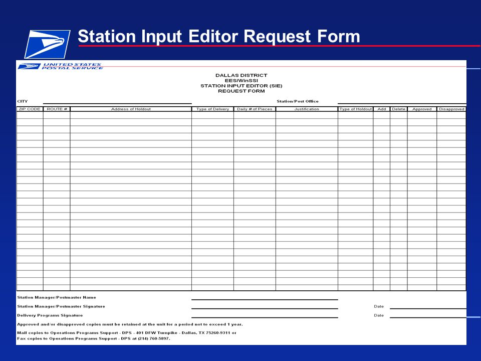 Station Input Editor Request Form
