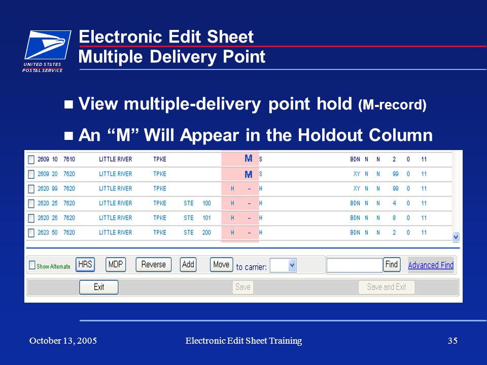 Electronic Edit Sheet Training
