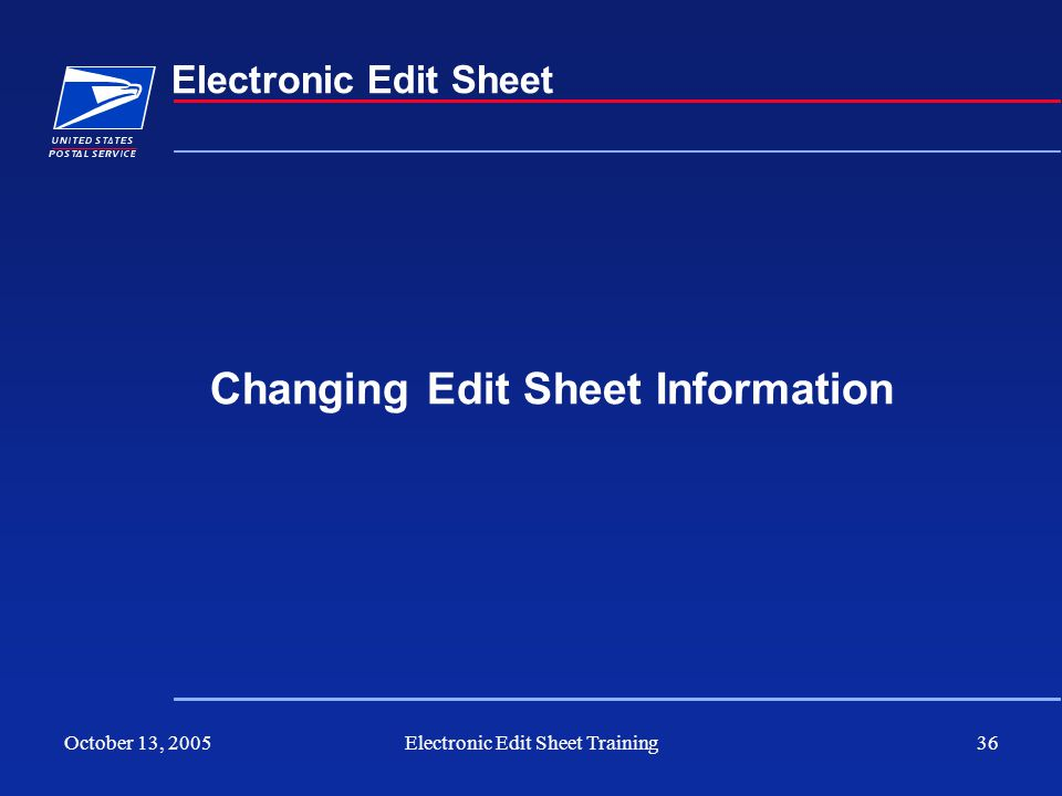 Changing Edit Sheet Information