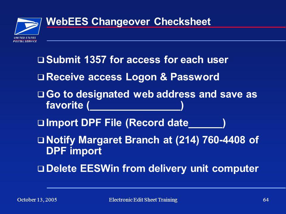 WebEES Changeover Checksheet