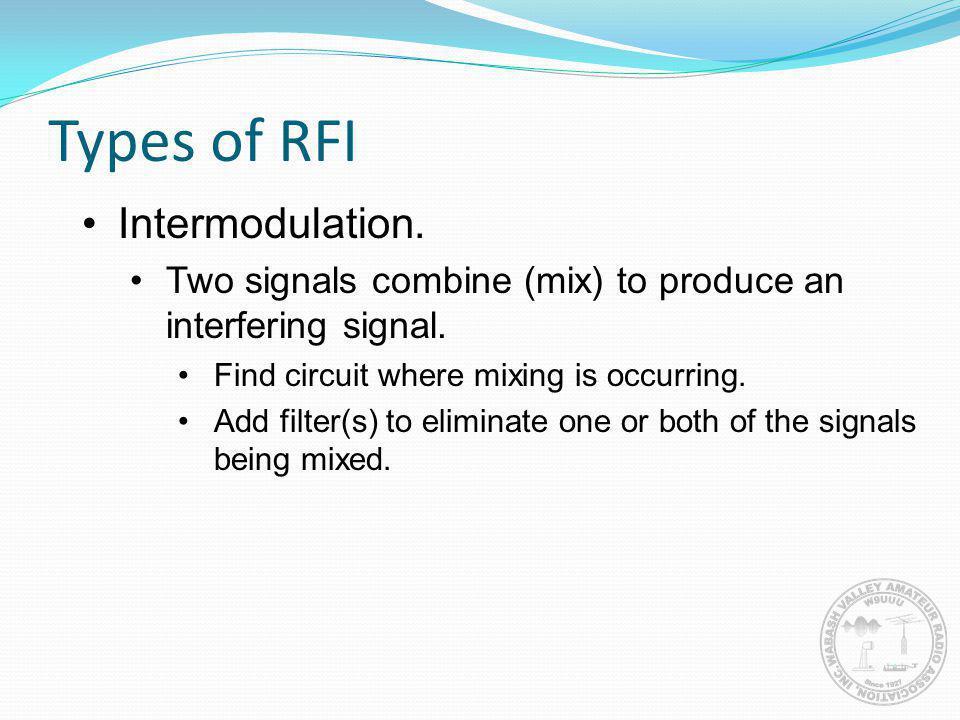 Types of RFI Intermodulation.
