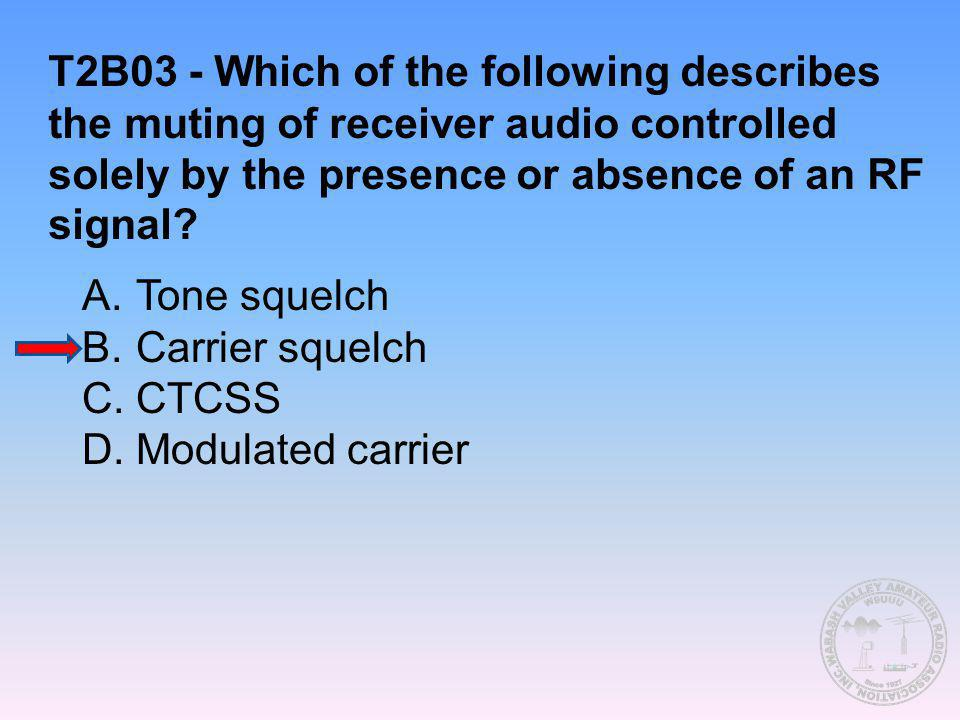 T2B03 - Which of the following describes the muting of receiver audio controlled solely by the presence or absence of an RF signal