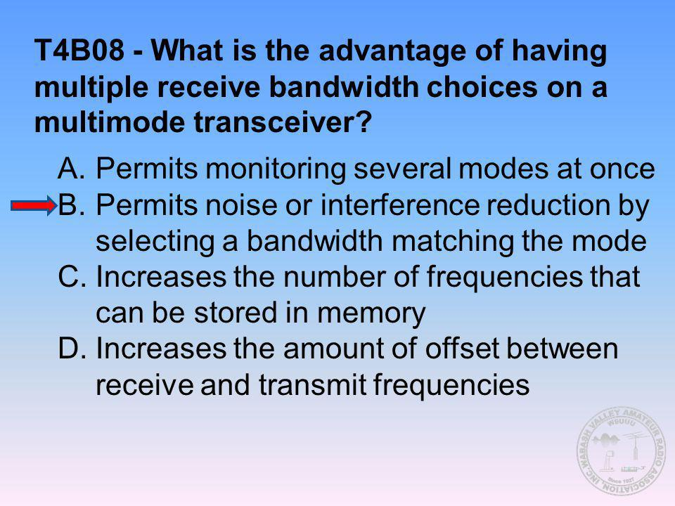 T4B08 - What is the advantage of having multiple receive bandwidth choices on a multimode transceiver