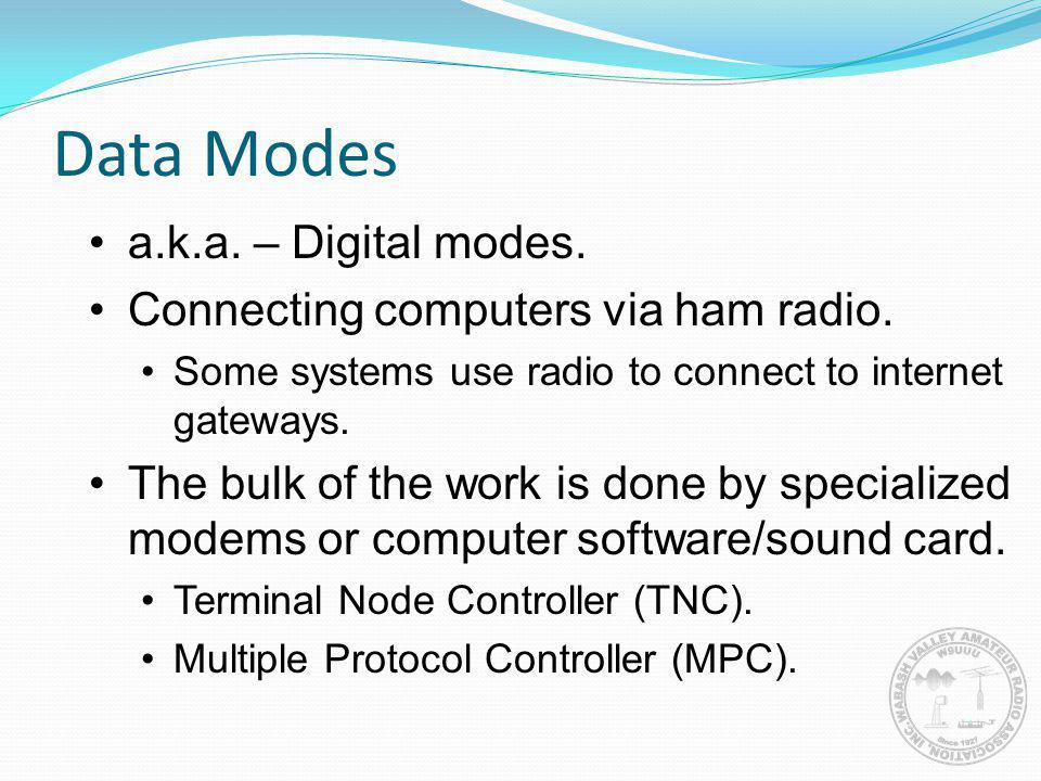 Data Modes a.k.a. – Digital modes. Connecting computers via ham radio.