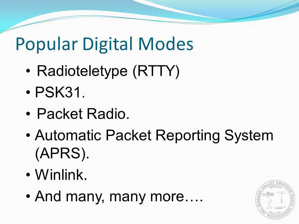 Popular Digital Modes Radioteletype (RTTY) PSK31. Packet Radio.