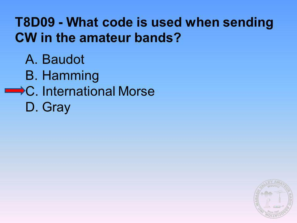 T8D09 - What code is used when sending CW in the amateur bands