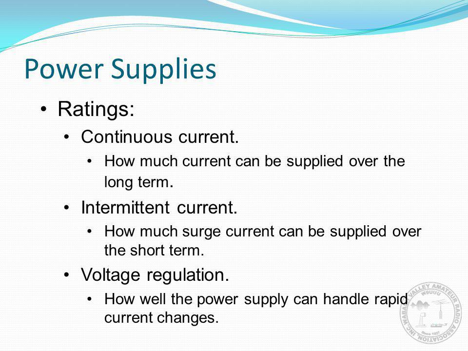 Power Supplies Ratings: Continuous current. Intermittent current.