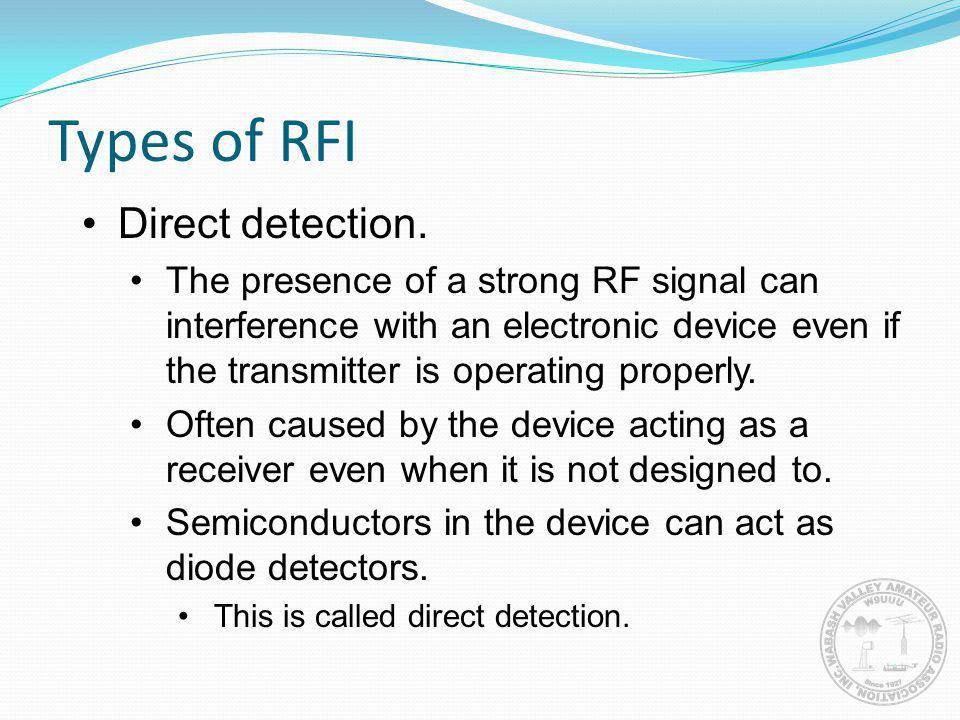Types of RFI Direct detection.