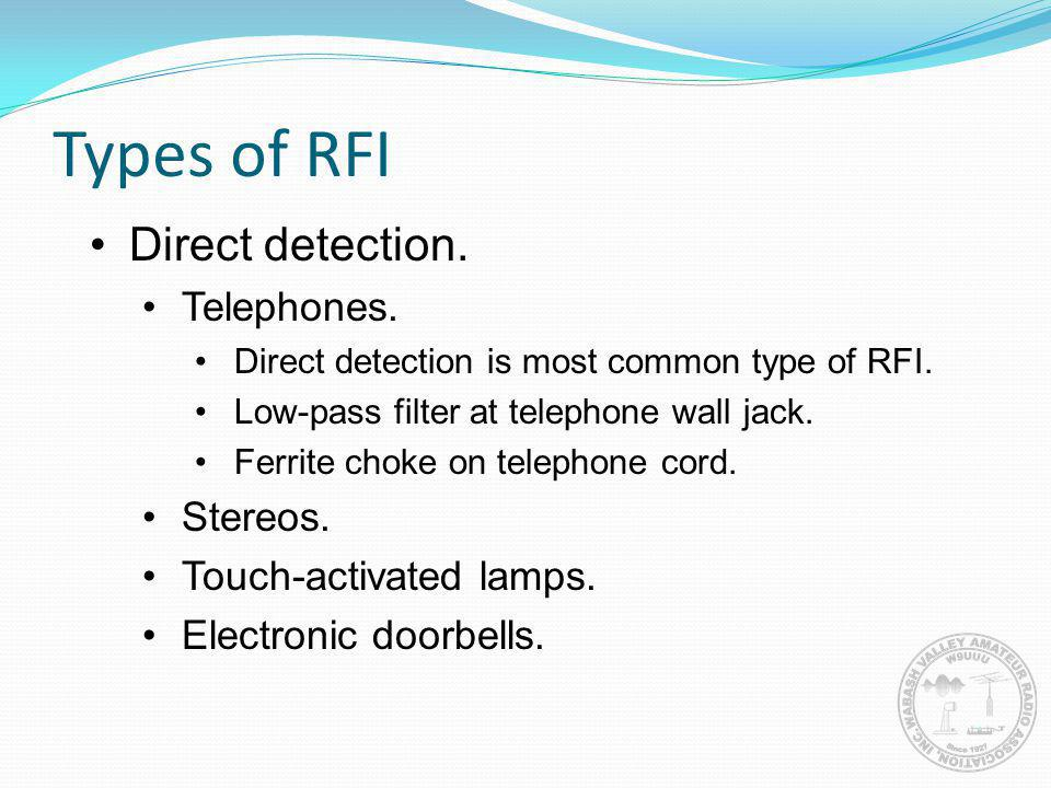 Types of RFI Direct detection. Telephones. Stereos.
