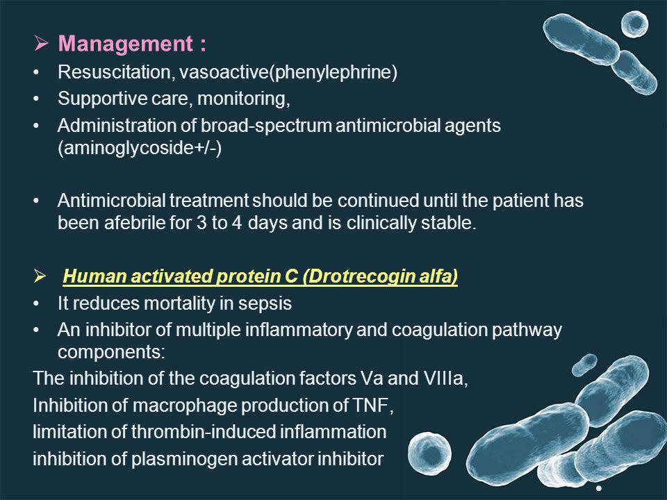Management : Resuscitation, vasoactive(phenylephrine)