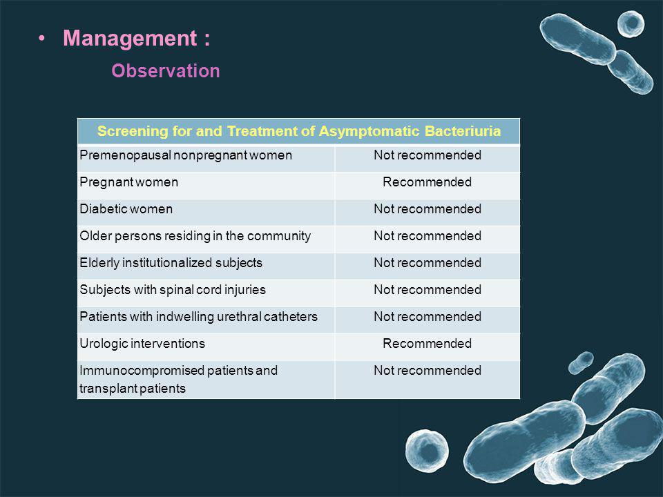 Screening for and Treatment of Asymptomatic Bacteriuria