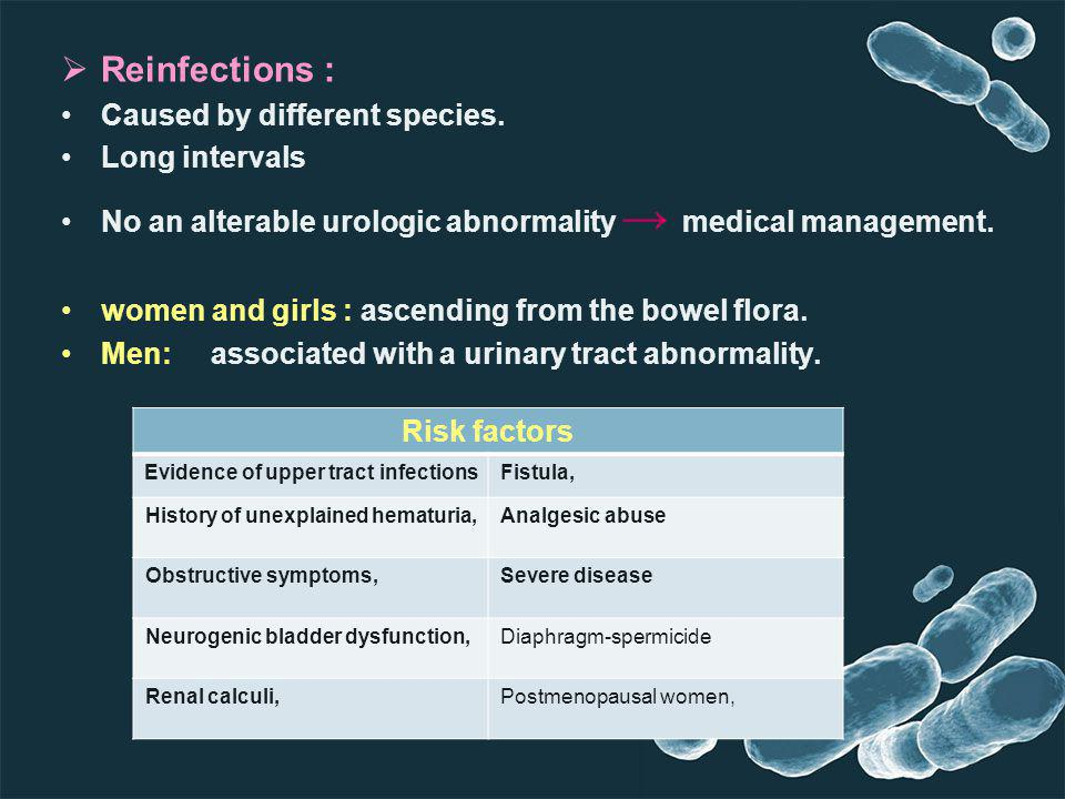 Reinfections : Caused by different species. Long intervals