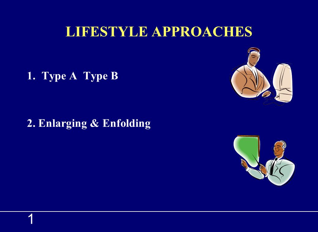 LIFESTYLE APPROACHES Type A Type B 2. Enlarging & Enfolding 1