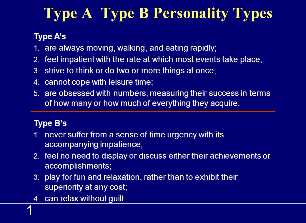 Type A Type B Personality Types