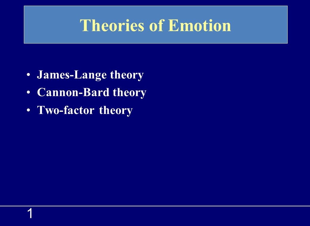 Theories of Emotion 1 James-Lange theory Cannon-Bard theory