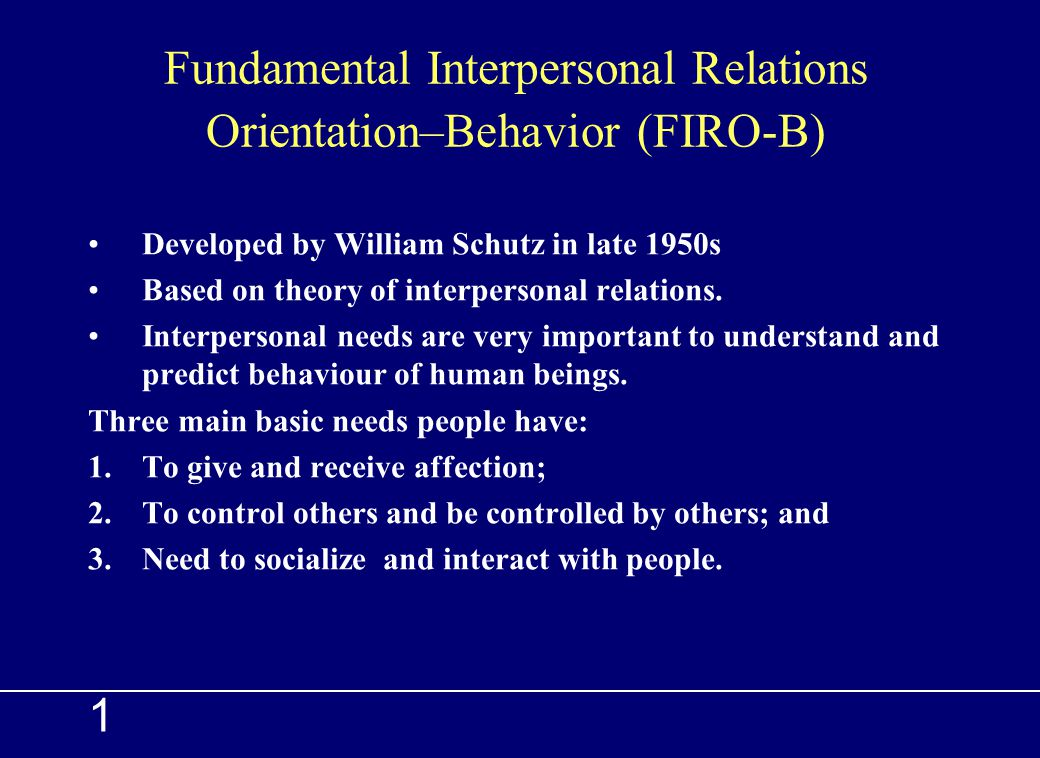 firob firob the fundamental interpersonal relationshipsbehavior The fundamental interpersonal relations orientation™ (firo®) instruments help people understand their interpersonal needs and how those needs influence their communication style and behaviour these tools have helped individuals, teams, and organisations around the world grow and succeed by serving as a catalyst for positive behavioural.