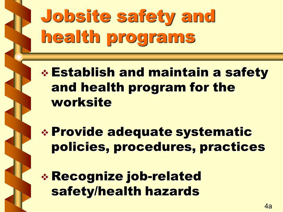 Jobsite safety and health programs