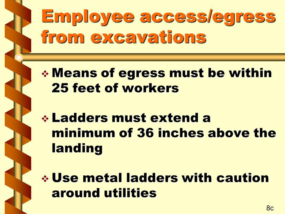 Employee access/egress from excavations