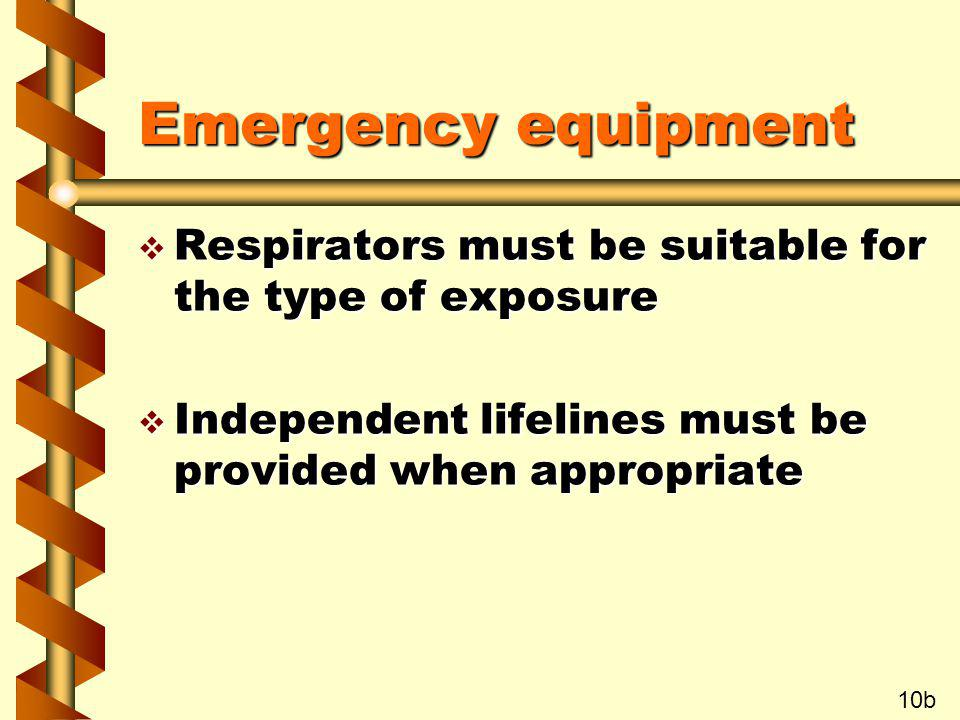 Emergency equipment Respirators must be suitable for the type of exposure. Independent lifelines must be provided when appropriate.