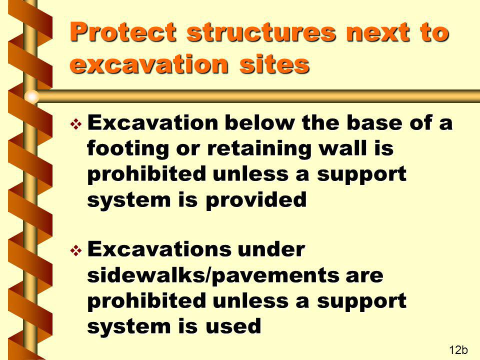 Protect structures next to excavation sites