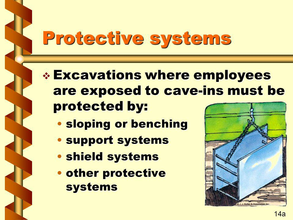 Protective systems Excavations where employees are exposed to cave-ins must be protected by: sloping or benching.