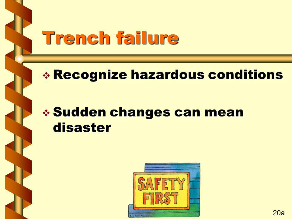 Trench failure Recognize hazardous conditions