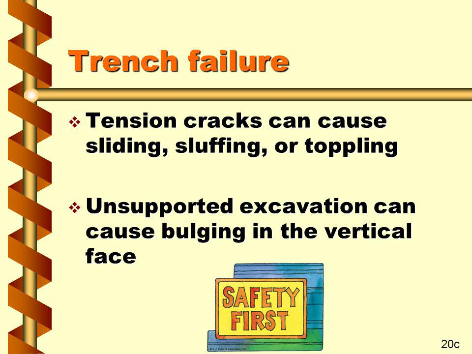Trench failure Tension cracks can cause sliding, sluffing, or toppling