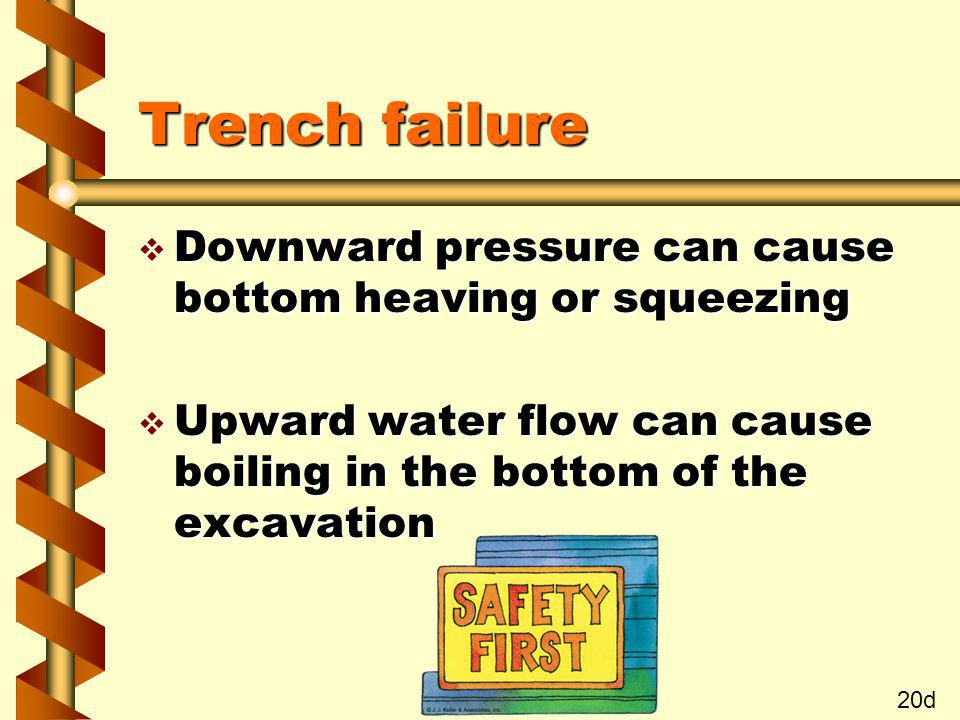 Trench failure Downward pressure can cause bottom heaving or squeezing