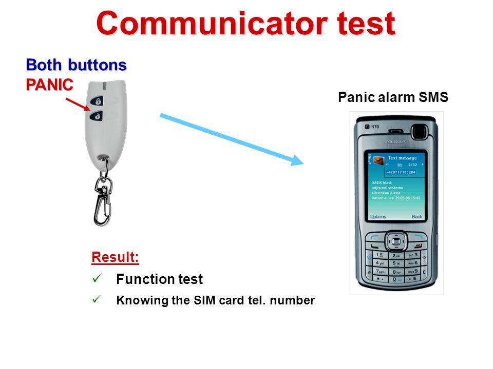 Communicator test Both buttons PANIC Panic alarm SMS Result: