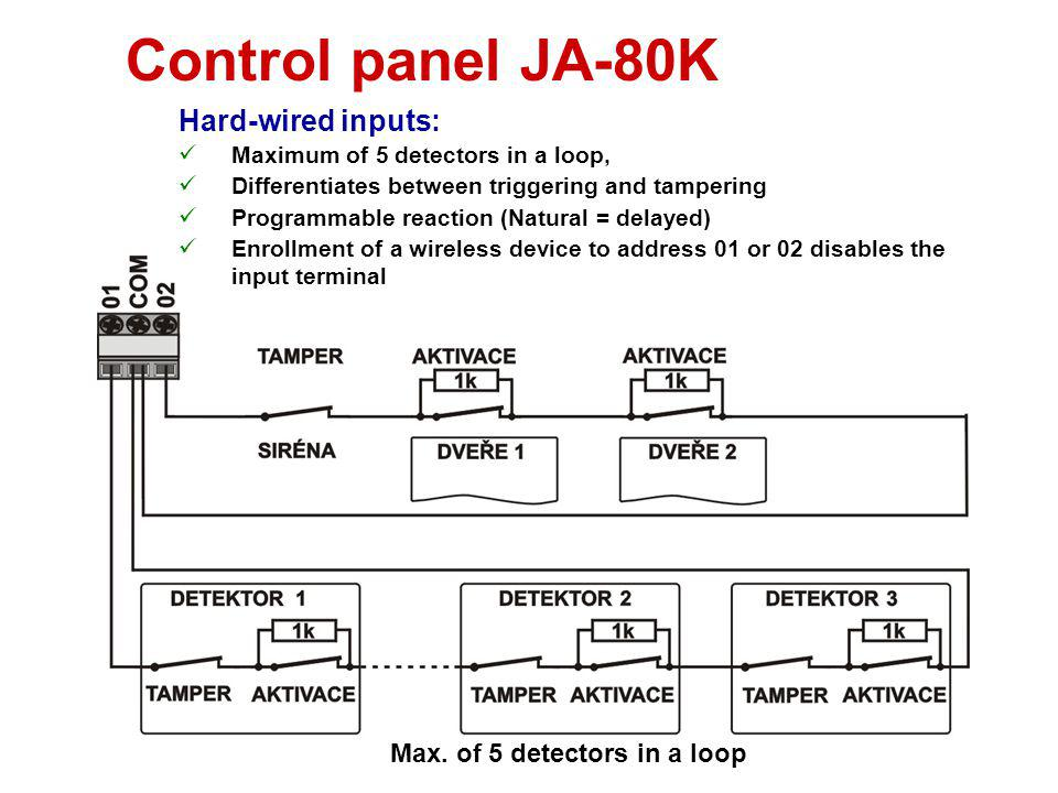 Control panel JA-80K Hard-wired inputs: Max. of 5 detectors in a loop