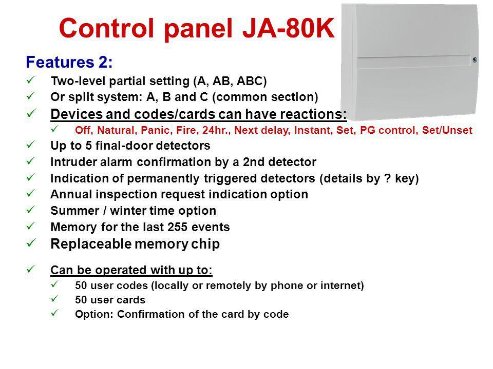 Control panel JA-80K Features 2: