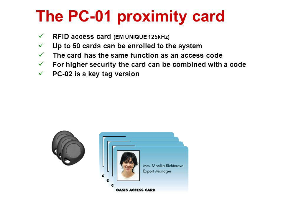 The PC-01 proximity card RFID access card (EM UNIQUE 125kHz)