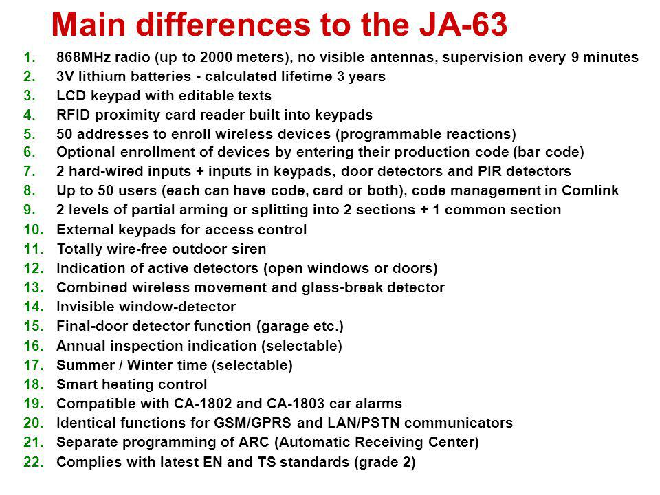 Main differences to the JA-63