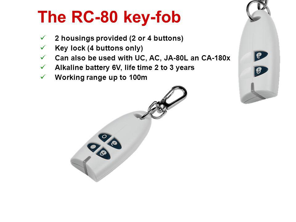 The RC-80 key-fob 2 housings provided (2 or 4 buttons)