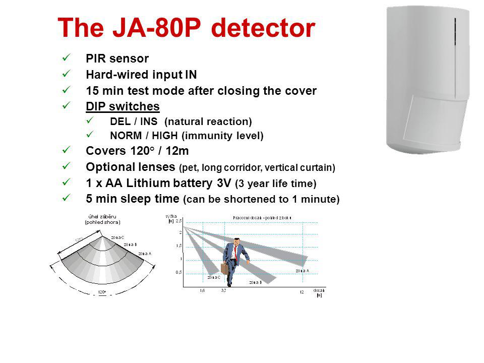 The JA-80P detector PIR sensor Hard-wired input IN